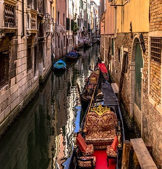 Venice, Italy, Water, Architecture, Gondola, Channel