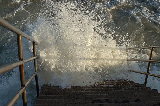 Ocean, Beach, Stairs, Stair, Waves, Crashing Waves, Sea