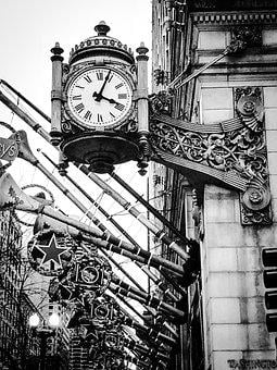 Chicago, Clock, Christmas, Building, Architecture, City