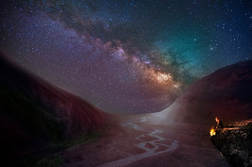 Woman, Campfire, Mountain, Milky Way, Star, Night