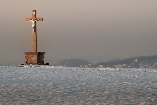 Wayside Cross Of 1787, Snow, Cold, Mood, Landscape
