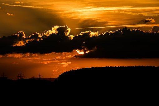 Sunset, Sun, Evening Sky, Dusk, Clouds, Abendstimmung