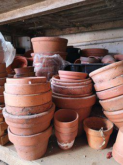 Pots, Flower Pots, Stacked