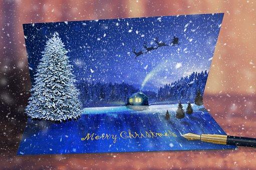Christmas, Christmas Card, Christmas Tree, Folding Card