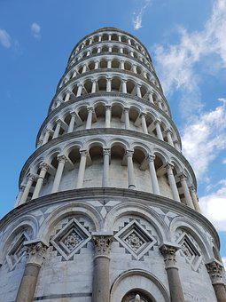 Pisa, Tower, Askew, Marble, Italy, Architecture