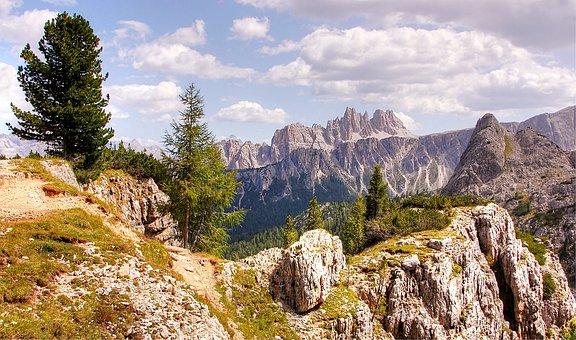 Croda Da Lago, Dolomites, Italy, Nature, Blue, Sky