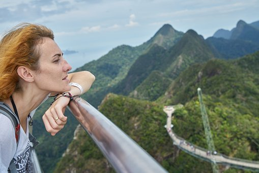 Woman, Overview, Landscape, Mountains, Mountain, Green