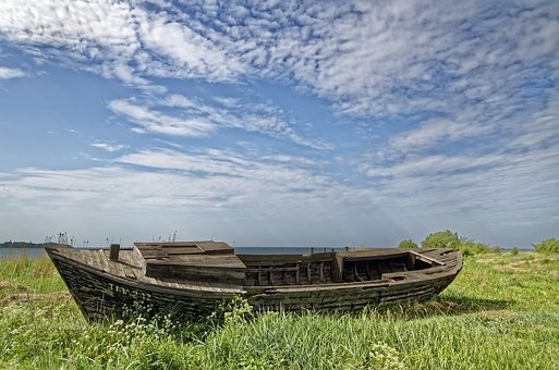 Boat, Sea, Stranded, Landscape, Nature, Sky, Clouds