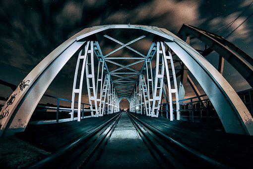 Bridge, Night, Architecture, Light, Lighting