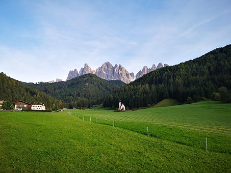 Mountains, South Tyrol, Dolomites, Meadow, Italy