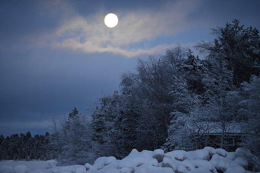Full Moon, Winter, Snow, Landscape, Moonlight, Wintry