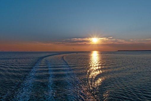 Sunset, Föhr, North Sea, Wadden Sea, Sun