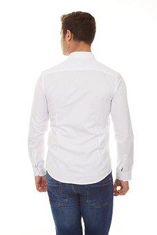 Shirt, White, Rear, Back, Male, Model, Clothes, Fashion
