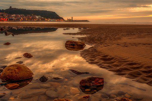 Scarborough, Beach, Seascape, Yorkshire, Reflections