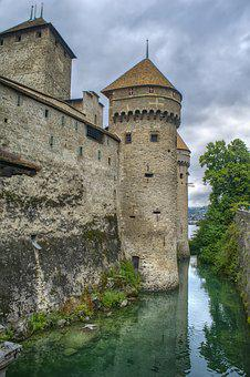 Castle, Switzerland, Tower, Fortress, Chillon
