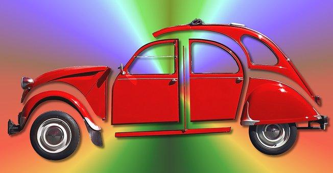 Car, Ugly Duckling, 2cv, Red, Vintage, Oldtimer, Retro