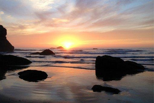 Sunset, Lake, Water, Nature, Sky, Sea, Landscape