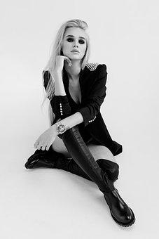 Girl, Woman, Model, Blonde, White, Fashion, Style