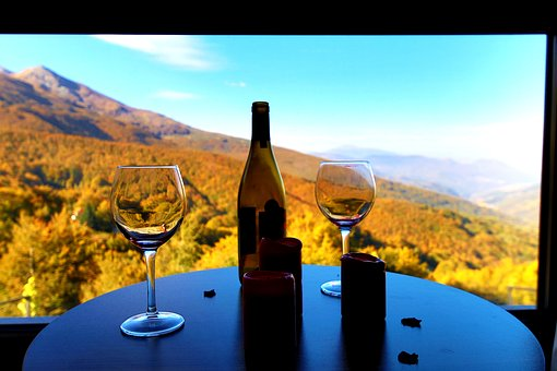 Outlook, Autumn, Mountains, Romance, Wine, Bottle