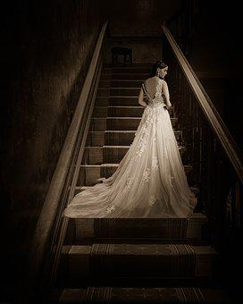Dreams, Past, Woman, Beautiful, Bride, Stairs, Space