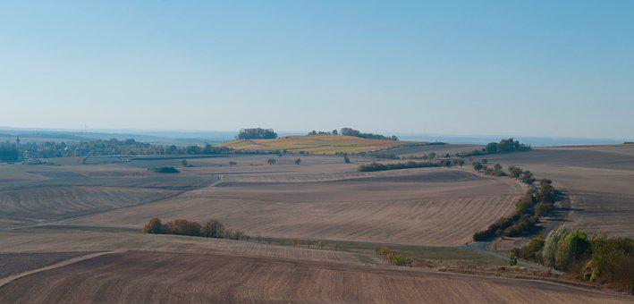 Autumn, Landscape, Arable, Field, Trees, Harvest, Hilly