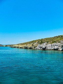 Sea, Blue, Travel, Sky, Rocks, Grass, Nature, Landscape
