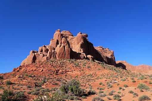 Rock Formation, Moab, Utah, Blue Sky, Red Sandstone