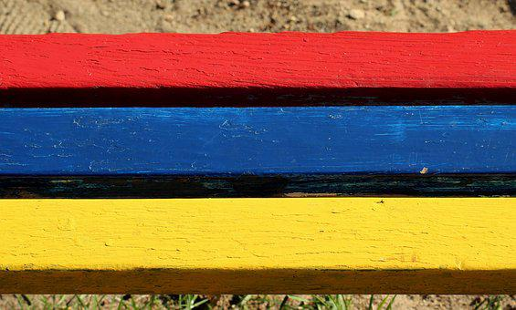 Bench, Boards, Colorful, Painted, Wood