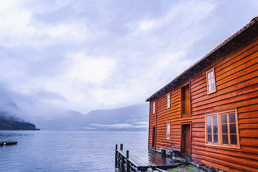 Autumn, Norway, Boat House, Fjord, Landscape, Clouds