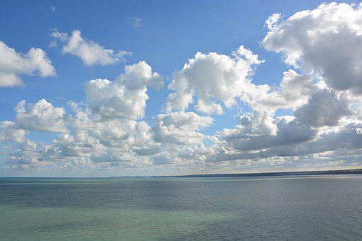 Seascape, Panoramic Views, Sea, Cloudy Blue Sky