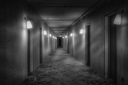 Corridor, Hotel, Hallway, Empty, Black, White, Soft