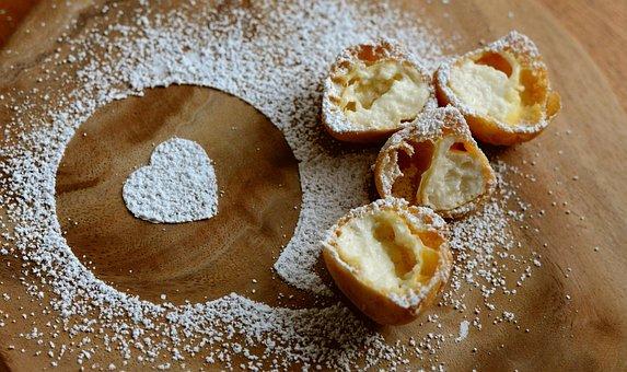 Icing Sugar, Sweet, Pastries, Cream Puff, Cream