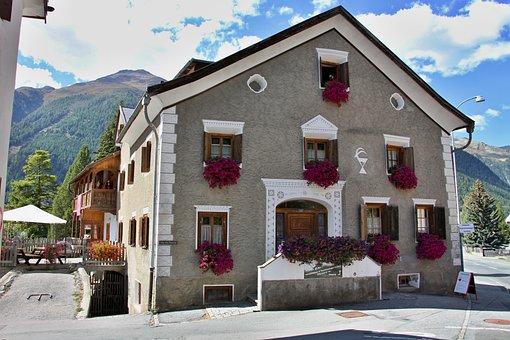 House, Engadin, Facade, Typical, Village, Graubünden