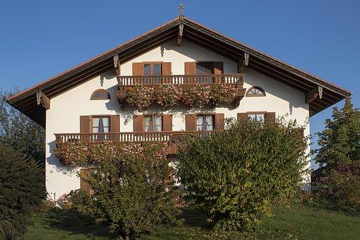 Farmhouse, Balcony, Floral Decorations, Geranium