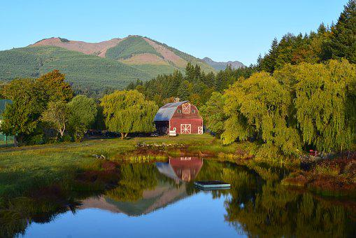 House, Mountains, Rural, Pond, Reflection, Landscape