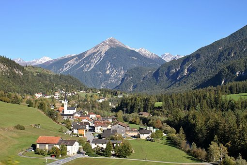 Mountains, Village, Engadin, Albula, Landscape, Nature