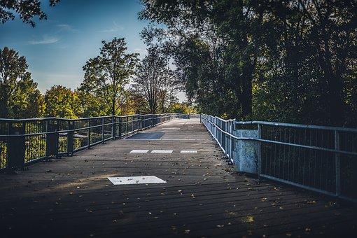 Park, Empty, Sunset, Catwalk, Wooden, Landscape