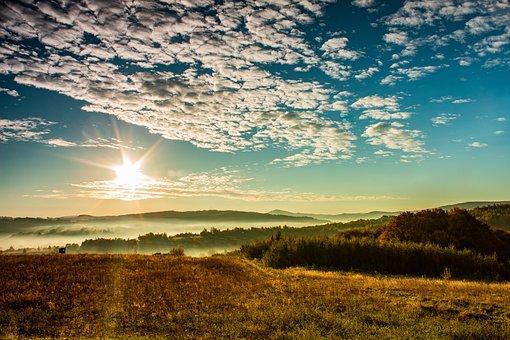 The Sun, Sky, Clouds, Landscape, Nature, East