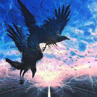 Art, Path, Nature, Landscape, Ravens, Storm, Sky