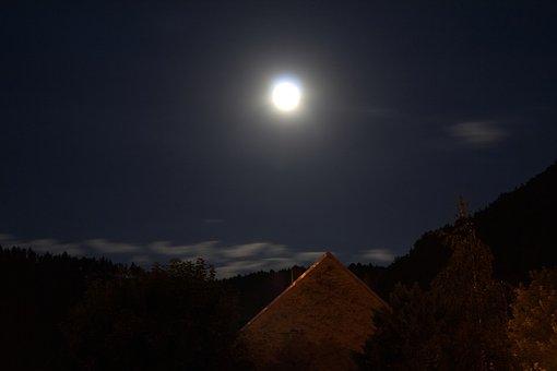 Moon, Dark, Moonlight, Sky, Night, Blue, Evening, Space