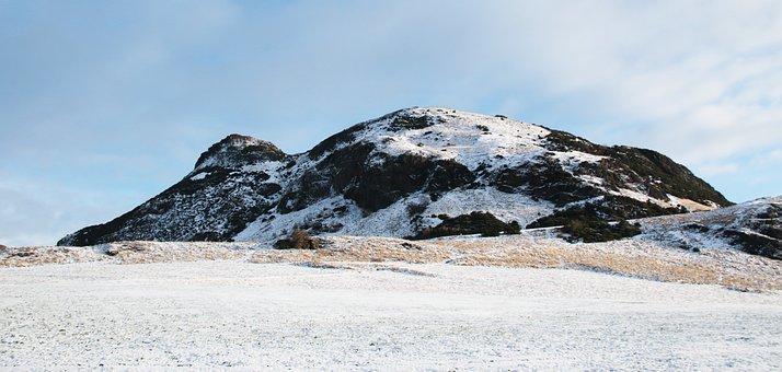 Edinburgh, Arthur's Seat, Snow, Mountain, Winter