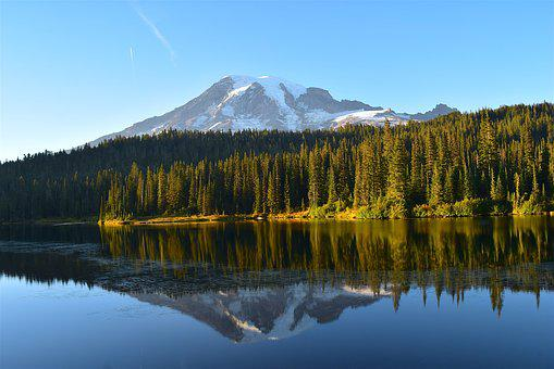 Mountain, Lake, Trees, Reflection, Water, Nature