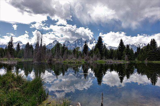 Reflections, Wyoming, Hiking, Tetons, Mountains, Lake