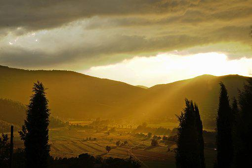 Umbria, Sunset, Landscape, Italy, Nature