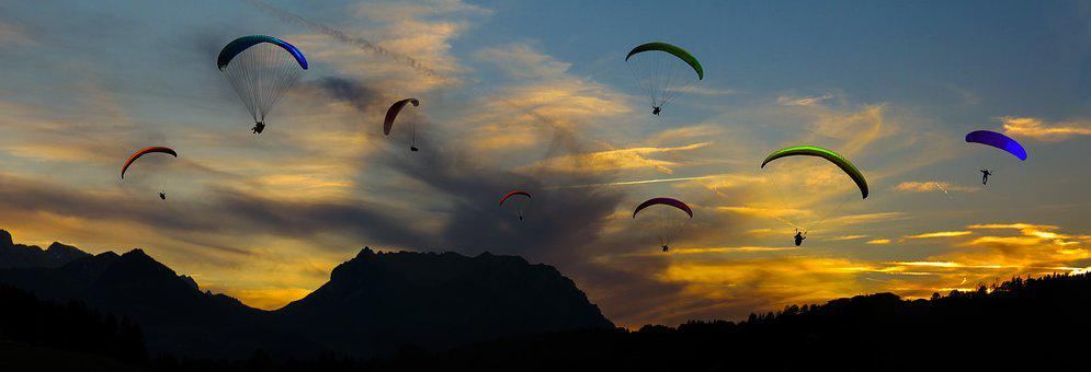 Nature, Sky, Sunset, Flying, Paraglider, Parachute