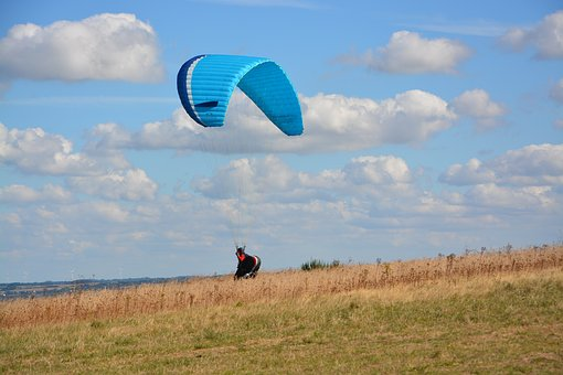 Paragliding, Paraglider, Panoramic Views, Landing