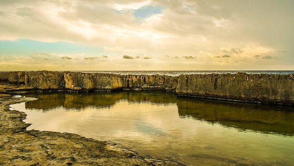 Rocky Coast, Water, Mirroring, Sky, Clouds, Autumn Mood