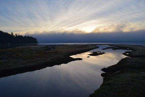 Sunrise, Reflection, Shore, Water, Coast, Sky