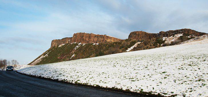 Edinburgh, Arthur's Seat, Snow, Hiking, Hike, Winter
