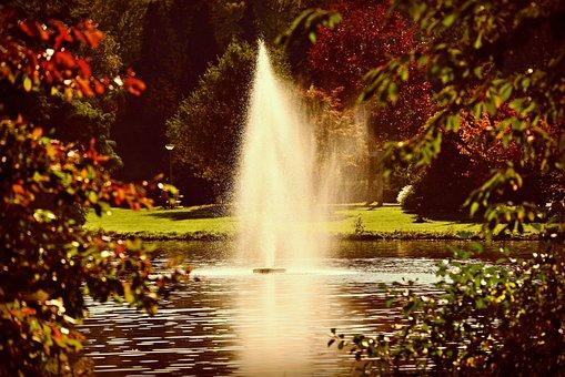 Fountain, Water Drops, Spray, Spouting, Pond, Grass